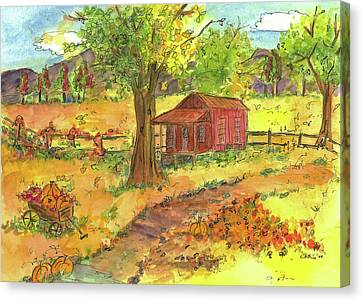 Canvas Print featuring the painting Red Cabin In Autumn  by Cathie Richardson
