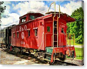 Red Caboose Canvas Print by Mel Steinhauer