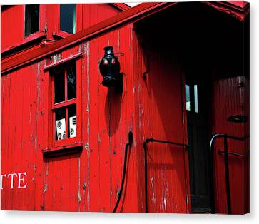 Red Caboose Canvas Print by Scott Hovind