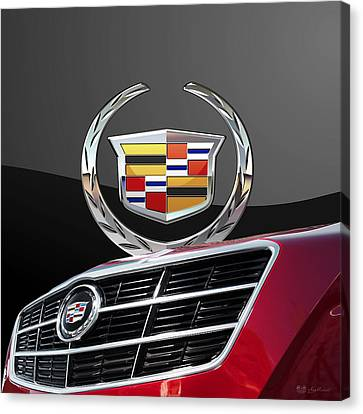 Red Cadillac C T S - Front Grill Ornament And 3d Badge On Black Canvas Print by Serge Averbukh