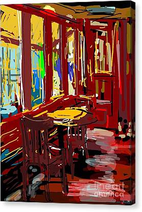 Red Cafe Canvas Print by Sandra Haney
