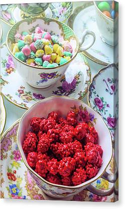 Red Candy In Tea Cup Canvas Print by Garry Gay