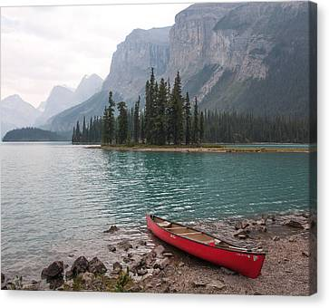 Red Canoe Canvas Print by Catherine Alfidi