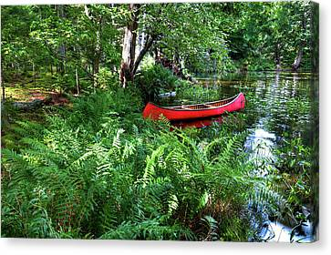 Red Canoe In The Adk Canvas Print by David Patterson