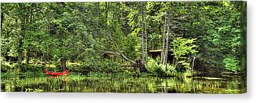Canvas Print featuring the photograph Red Canoe Panorama by David Patterson