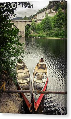 Row Boat Canvas Print - Red Canoes by Carlos Caetano