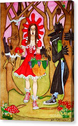 Canvas Print featuring the painting The Little Riding Hood And The Wolf In Chucks by Don Pedro De Gracia