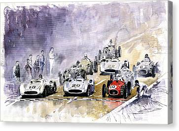 Red Car Maserati 250 France Gp Canvas Print by Yuriy  Shevchuk