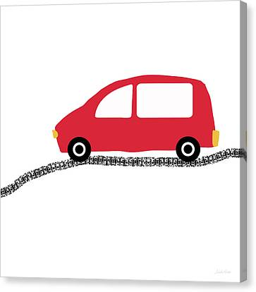 Juvenile Art Canvas Print - Red Car On Road- Art By Linda Woods by Linda Woods