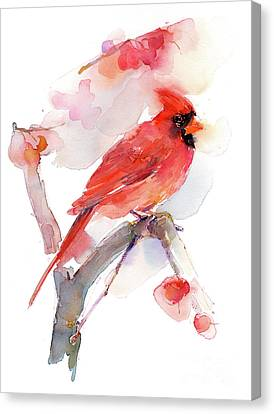 Loose Style Canvas Print - Red Cardinal by John Keeling