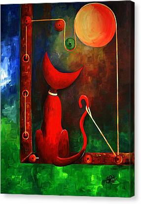 Red Cat Looking At The Moon Canvas Print by Silvia Regueira