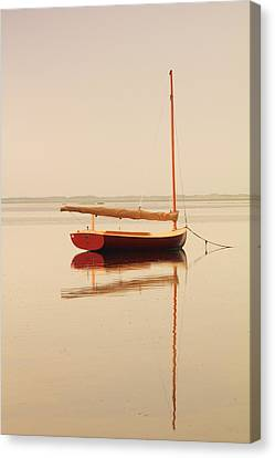 Red Catboat On Misty Harbor Canvas Print