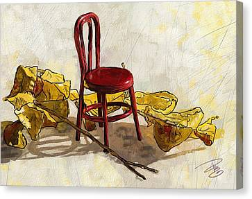 Red Chair And Yellow Leaves Canvas Print
