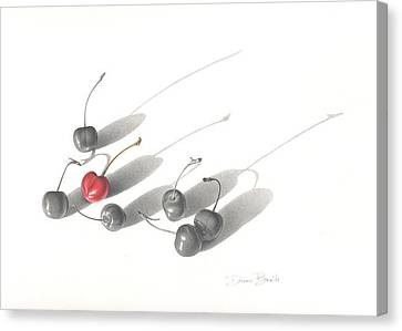 Canvas Print featuring the drawing Red Cherry by Donna Basile