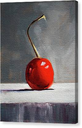 Canvas Print featuring the painting Red Cherry by Nancy Merkle