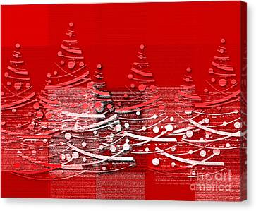 Red Christmas Trees Canvas Print by Aimelle