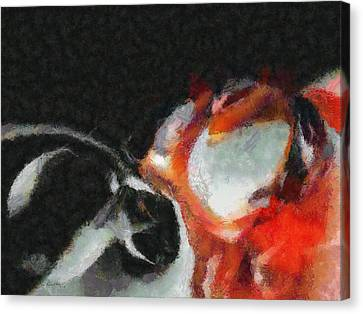Red Circle Abstract Canvas Print by Russ Harris