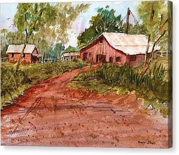 Red Clay Farm - Watercolor Canvas Print by Barry Jones