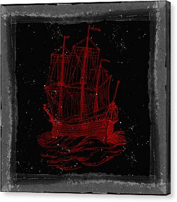 Red Clipper Ship Starry Night Canvas Print by Brandi Fitzgerald