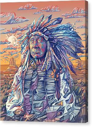 Red Cloud Decorative Portrait Canvas Print by Bekim Art