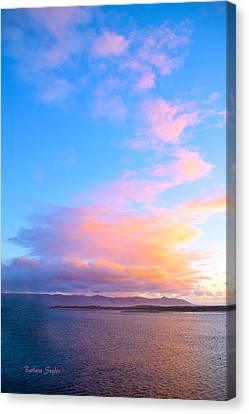 Red Clouds Over Morro Bay Canvas Print by Barbara Snyder