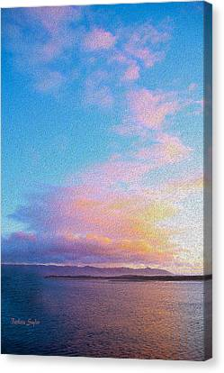 Red Clouds Over Morro Bay Painting Canvas Print by Barbara Snyder