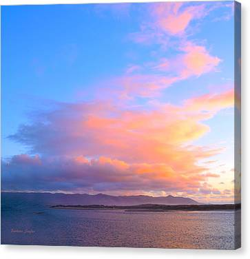 Red Clouds Over Morro Bay Small Canvas Print by Barbara Snyder