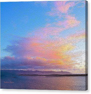 Red Clouds Over Morro Bay Small Painting Canvas Print by Barbara Snyder