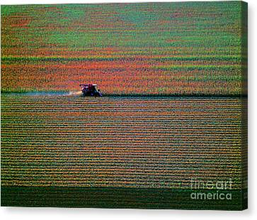 Red Combine Harvesting  Mchenry Aerial Canvas Print
