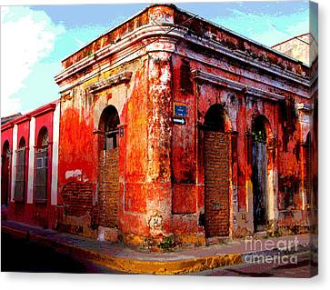 Red Corner By Darian Day Canvas Print by Mexicolors Art Photography