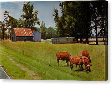 Red Cows On Grapevine Road Canvas Print by Doug Strickland