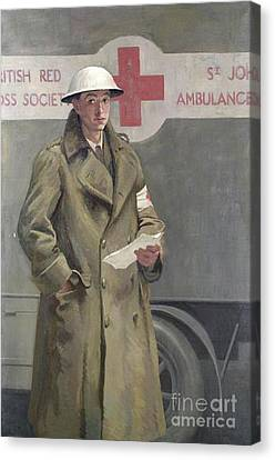 Red Cross Officer In France Canvas Print