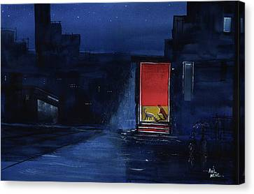 Canvas Print featuring the painting Red Curtain by Anil Nene