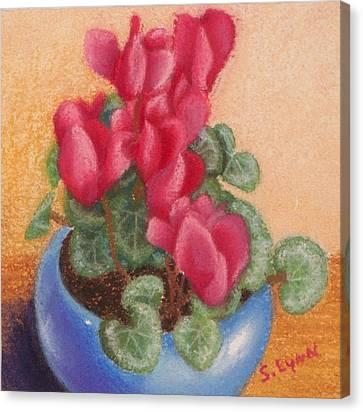Red Cyclamen Blue Pot Canvas Print