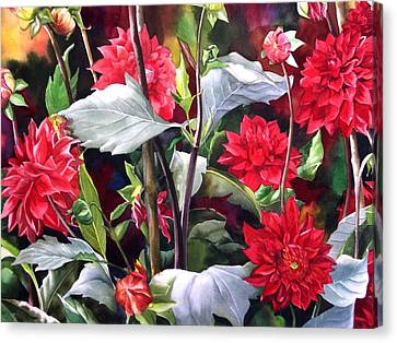 Canvas Print featuring the painting Red Dahlias by Alfred Ng