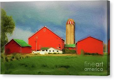 Red Dairy Farm Canvas Print by Anthony Djordjevic