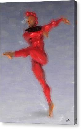 Ballet Dancers Canvas Print - Red Dancer by Quim Abella