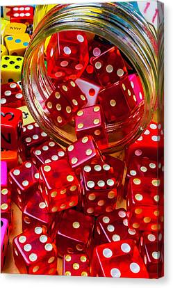 Pour Canvas Print - Red Dice Spilling Out by Garry Gay