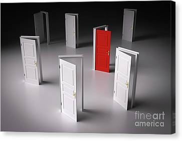 Red Door Among Other White Ones. Decision Making Canvas Print by Michal Bednarek