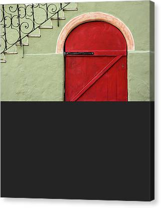 Red Door And Gray Canvas Print