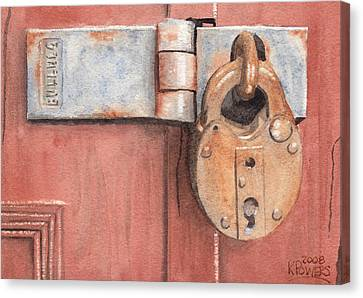 Red Door And Old Lock Canvas Print by Ken Powers