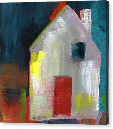 Abstract Expressionist Canvas Print - Red Door- Art By Linda Woods by Linda Woods