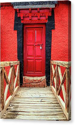 Canvas Print featuring the photograph Red Door At A Monastery by Alexey Stiop