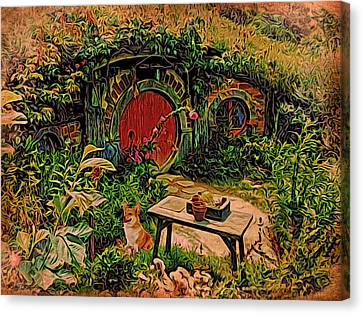 Red Door Hobbit House With Corgi Canvas Print by Kathy Kelly
