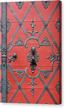 Canvas Print featuring the photograph Red Door In Prague - Czech Republic by Melanie Alexandra Price