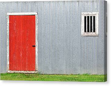 Red Door, Silver Wall Canvas Print