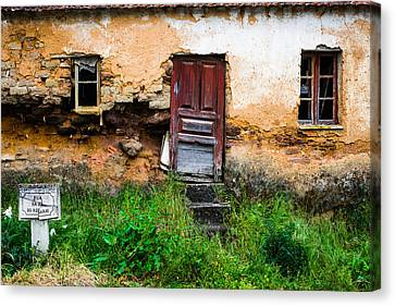Red Door With No Number Canvas Print