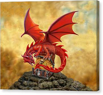Red Dragon's Treasure Chest Canvas Print by Glenn Holbrook