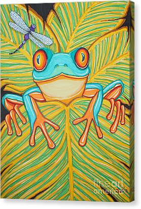 Red Eyed Tree Frog And Dragonfly Canvas Print by Nick Gustafson