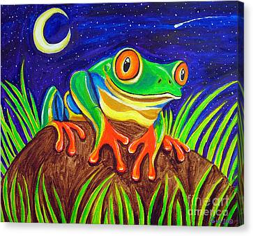 Red-eyed Tree Frog And Starry Night Canvas Print by Nick Gustafson